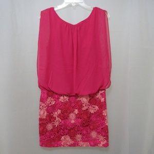 Aidan Mattox Floral Chiffon Sleeveless Dress NWT